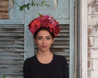 Double sided Frida Kahlo Flower Crown Headpiece - Day of the Dead - Sugar Skull - Floral Headband - Halloween - Cinco De Mayo - Fiesta