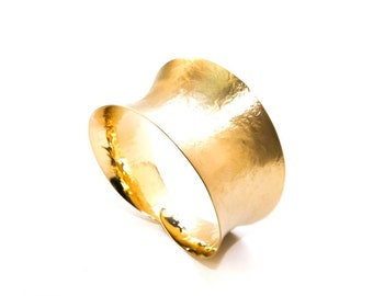 "Solid Brass Handmade ""Suductive"" Curve Cuff in Gold Finish"