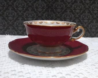 Vintage Demitasse Tea Cup and Saucer by Thomas, Rosenthal, Bavarian Porcelain, Ruby Red, Gold Trim and Flowers, Espresso Cup, Circa 1930s