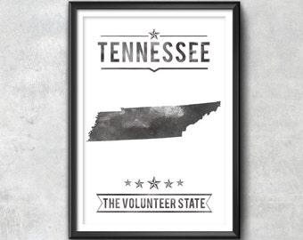 Tennessee State Typography Print, Typography Poster, Tennessee Poster, Tennessee Art, Tennessee Gift, Tennessee Decor, Tennessee Love, home