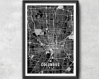 COLUMBUS Ohio Map with Coordinates, Columbus Map, Map Art, Map Print, Columbus Print, Columbus Art, Columbus Wall Art, Map, Ohio, Ohio Print