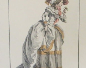 19th C Hand Colored Engraving of an 18th C Day Dress