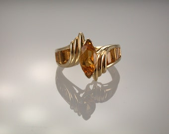 14K Yellow Gold Yellow Topaz Ring, November Birthstone