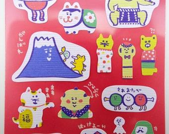 Super kawaii Japanese culture chiyogami stickers! Mankei Neko - Mt. Fuji - Daruma & Kokeshi dolls - Inu Hariko - Sumo wrestlers - sushi roll