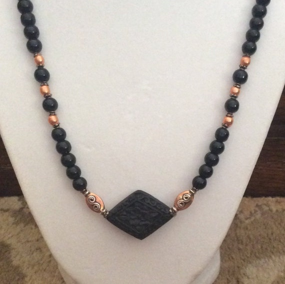 Beautiful Onyx, sterling and copper necklace