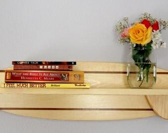 Surfboard shelf, bathroom, bedroom, wooden, wall mounted, fin, stringer,
