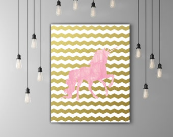 Pink Unicorn Nursery Printable, Little Girls Room Decor, Kids Room Print, Girl Nursery Print, Gold Chevron Nursery, Pink And Gold Room Decor