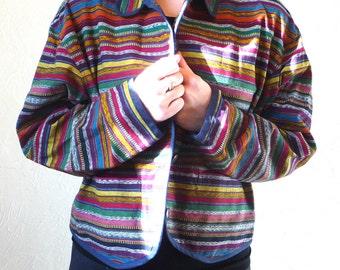 Colorful Striped Womens Festival Boho Jacket