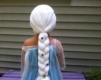 Snow Queen wig, Childs wig, Yarn wig, Princess wig, White wig, Halloween costume, Kids wig, Kids costume, Yarn hair, Princess yarn braid