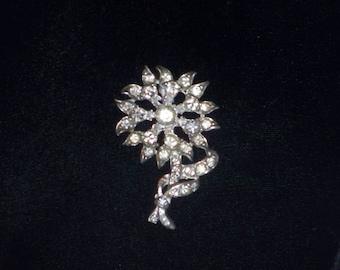 Vintage Clear Rhinestone Floral Pin Brooch