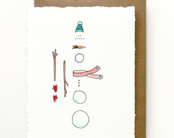 Fun Snowman Illustrated Holiday Greeting Card
