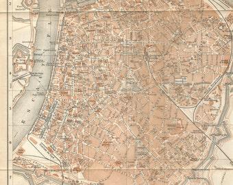 1905 map of belgium antwepen  antique map vintage wall chart decor.