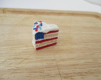 American Flag Cake Magnet, Fourth of July Handmade Polymer Clay, Kawaii
