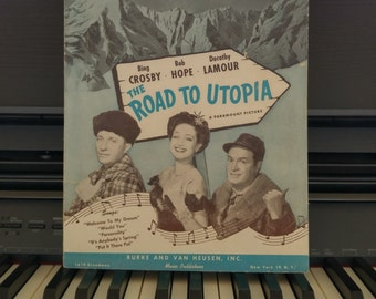 Vintage Sheet Music Titled Personality from the Movie Road to Utopia | Starring Bing Crosby, Bob Hope and Dorothy Lamour
