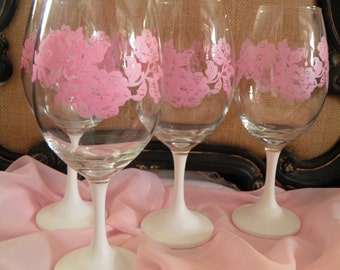 Lighthearted Shabby Chic Meets Mid Century Modern Pink Roses on Clear Wineglass Featuring White Stem
