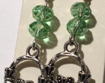 Claddagh Earring Studs with Green Crystal beads