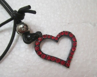 Vintage 1980's Red Rhinestone Heart Necklace on Black Leather Cord 32 inch