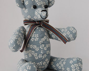 Japanese fabric Teddy Bear (gray, sakura)