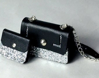 Stylish leather handbag, glitter and metal decorations, handmade, 1/12 scale