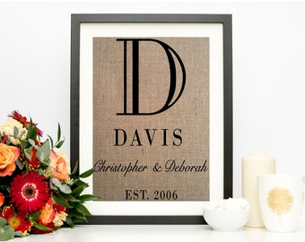Burlap Wedding Sign, Burlap Print, Engagement Gifts for Couple