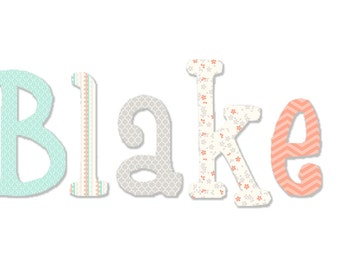 Mint, coral and gray baby girl wooden nursery letters