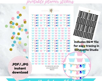 Item #0022 Printable Laundry Baskets & Clothesline Stickers Set (Perfect for planning)