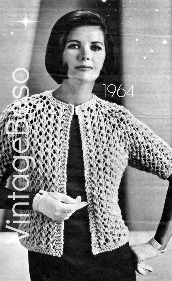 Free Crochet Pattern For Cigarette Case : Ladies Jacket Knitting Pattern is a 1964 Quick by VintageBeso
