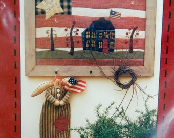 """2001 Country Stitches Pattern & Instruction for """"Old Glory"""" Appliqued Picture Wall hanging designed by Brenda Gervais , Folk Art Flag Decor"""
