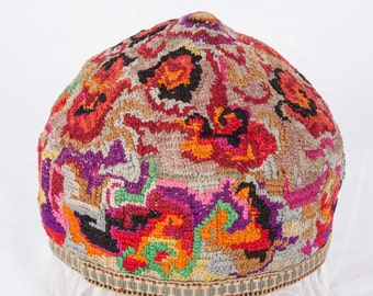 Vintage Hat, Uzbekistan, Central Asia , silk hat , tribal hat , ships free with ups.