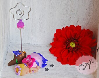Baby photo holder, Fairy tales theme, elfe pointy ears, Decoration for baby's room, Great idea for a baby shower present, flower metal stem