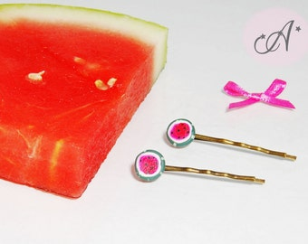 Hair clips watermelons, barrettes, watermelon, bronze, silver colored Bobby pins hair clip, watermelon accessory