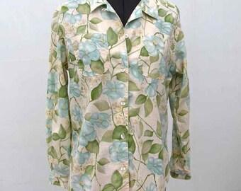 Liz Claiborne Blue and Green Floral Linen Blouse by Liz Claiborne Size Petite Medium