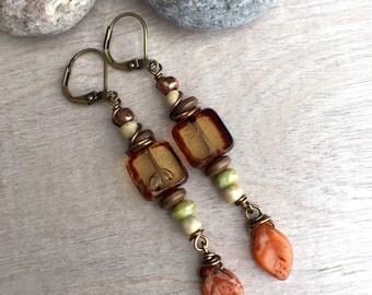 ON SALE 25% Czech glass earrings   Dangle Earrings   Rustic Earrings   Earthy Earrings