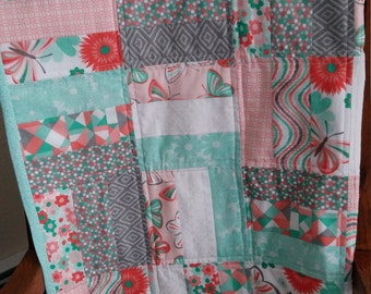 Quilt, Child Quilt, Green and Peach,  Spring Quilt, Blanket