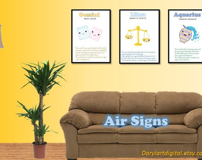Kawaii astrology wallart, printable instant download, choose your sign