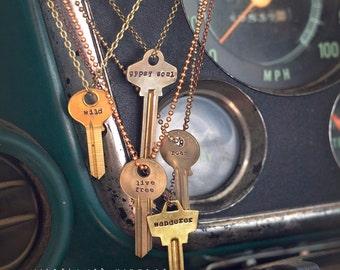 Key Necklace | Hand Stamped Vintage Repurposed Uncut