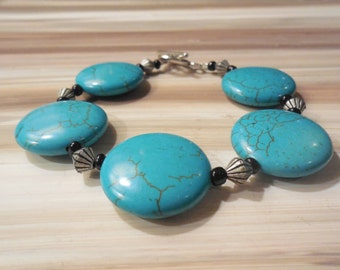 Turquoise Beaded Bracelet, Chunky Turquoise Bracelet, Toggle Clasp Bracelet, Flat Bead Bracelet