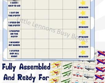 Airplane Potty Chart, personalized, FULLY ASSEMBLED, potty training chart, Reward Chart, daily schedule, behavioral chart, boy potty chart