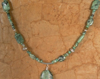 Sundance Style Necklace, Turquoise Necklace, Turquoise and Silver Necklace