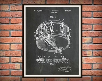 1963 Snare Drum Patent Print - Marching Band Decor -  Music Room Decor - Jazz Band Wall Art - Marching Band Gift
