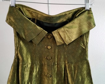 Vintage 1950s - '60s Helen of California Olive Green Party Strapless Dress w/ Pockets