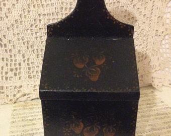 Primitive Candle Box~ Toile Painted Wall Box, Pennsylvania Dutch, Black, Hand Painted, Primitive Pipe Box, Recipe Box, Antique Match Box