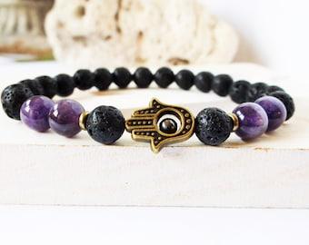 Men Hamsa bracelet, men's amethyst, men lava rock, natural stone bracelet, Hamsa Hand yoga bracelet, mala bracelet men, wrist mala