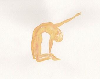 Yellow Yoga Watercolour painting | Ustrasana | Camel pose | Original