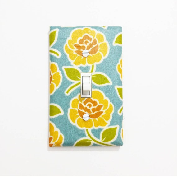 Blue And Yellow Bathroom Decor: Blue And Yellow Rose Light Switch Cover By LullabyVisions