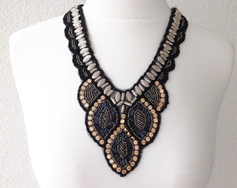 Embroided Necklace, Statement Necklace, Bib Statement, Ethnic Necklace