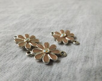 Metal pink flower beads