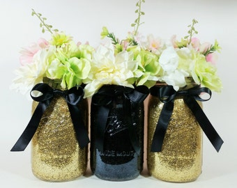 Mason Jar Wedding Centerpieces,  Gold and Black Centerpieces, Birthday Party Decor, Graduation Party Decorations, Table Decor, Set of 3