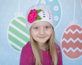 Spring Flower Beanie - Girl's Flower Hat - Summer hat in all sizes - interchangeable flower - Comes in 6 colours! - Newborn to Adult Sizes