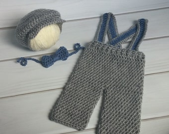 Newborn Props - Newsboy hat and pant set - Matching Suspenders and Bow tie - Ready to Ship - Boy Baby SHower Gift - Ready to ship